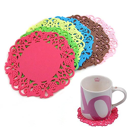 Amapower 4Pcs Kitchen Bowl Holder Hollow Placemats Silicone Coasters Mat Pad Lace Flower