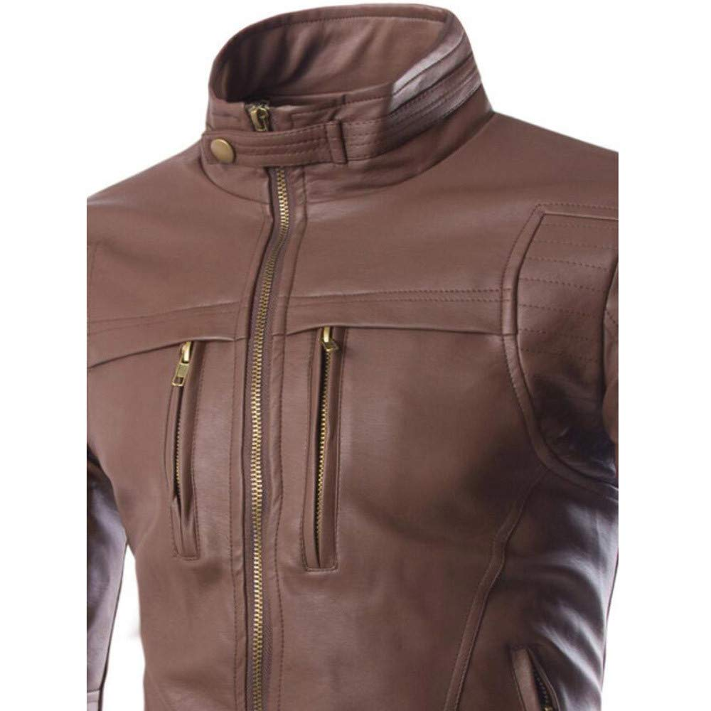 ErYao Mens Autumn Winter Casual Long Sleeve Solid Stand Zipper Leather Jacket Top
