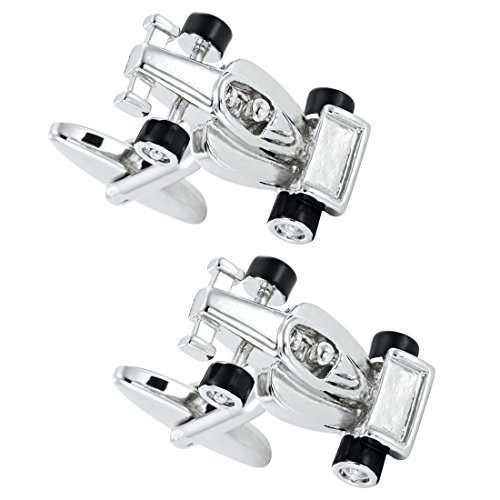 Urban Jewelry Formula One F1 Race Car Style Mens Stainless Steel Cufflinks (Black, Silver) (Best Formula One Races)