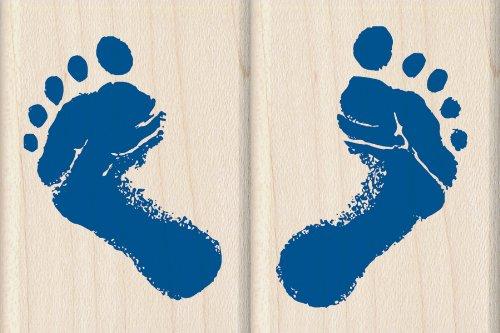 Inkadinkado Baby Feet Wood Stamp Set for Card Decorating, 2pc, 1.5'' W x 2'' -