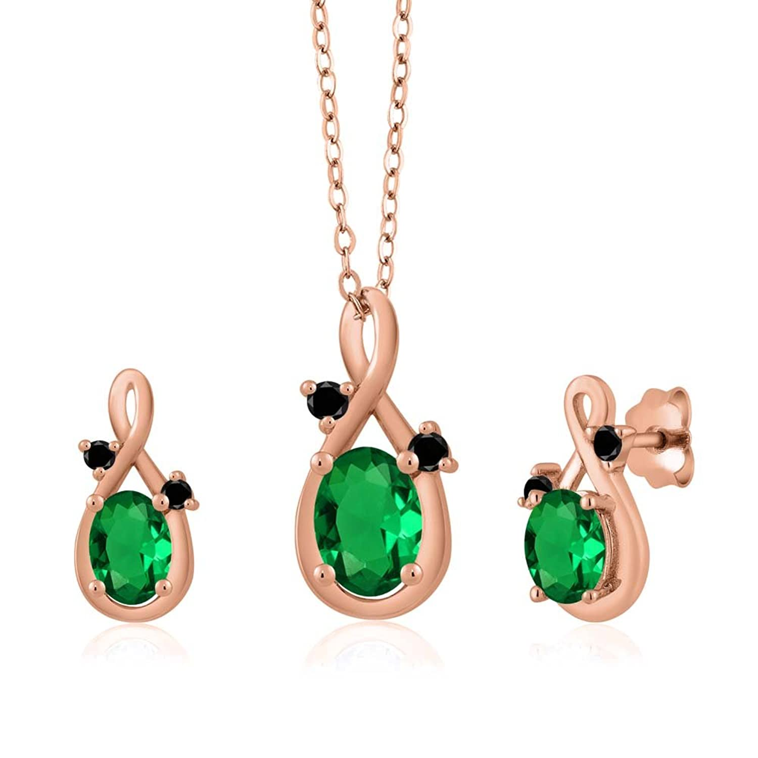 1.50 Ct Oval Green Simulated Emerald 18K Rose Gold Pendant Earrings Set