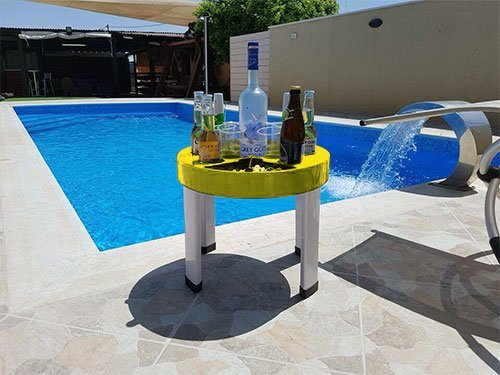 (T-Bar Portable Bar Set – Floating Bar Perfect for Beach, BBQ, and Pool Party – Folding Serving Tray with Legs and Carrying Case (Yellow))