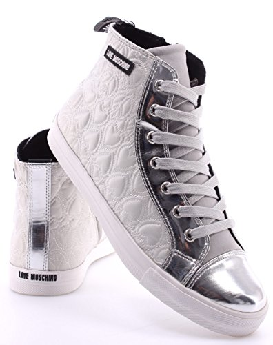 Chaussure Femme Sneakers LOVE MOSCHINO High Top Cuori Pace Argento Silver New
