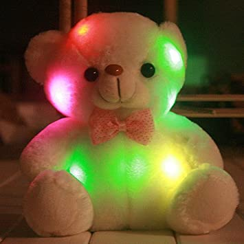 Colorful Stuffed Glow Bear LED Pillow Mini Star Toy Teddy Bear Plush Animal Toys For Children