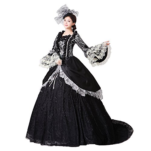 Women Civil War Marie Antoinette Wedding Dress Southern Belle Rococo Queen Stage Party Banquet Victorian Ball Gowns (L, Black) Southern Belle Ball Gown