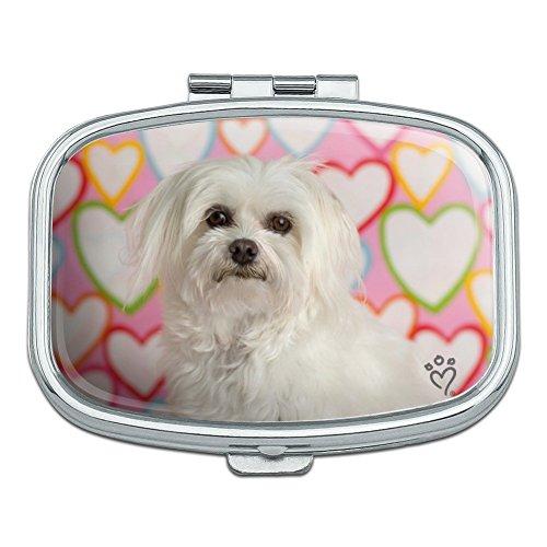 Maltese Puppy Dog Hearts Love Rectangle Pill Case Trinket Gift ()