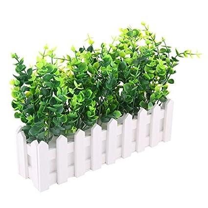 eDealMax Madera Pot Restaurante Cafetería Tabla contador decoración Artificial de la planta Verde Blanco