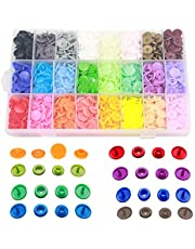 Vsiki 408 Sets Plastic Snap Buttons, T5 Snap Fastener Kit for Craft DIY, Sewing, Clothing, Diaper, Bibs, Unpaper Towels, Nappies, Mama Pads (24 Colors)
