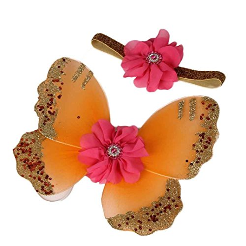 Butterfly Wings Newborn Photo Props, DIY Photography Props Girls Flower Hair Accessories Costume Set (Orange) ()