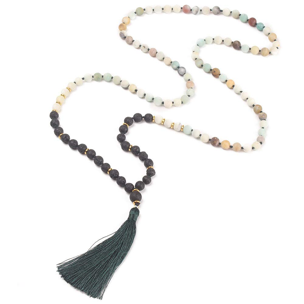 GVUSMIL 108 Mala Beads Meditation Necklace/Natural Gemstone Jewelry/Mala Beads Necklace/Buddha Necklace - Buddhist Prayer Beads/Tassel Necklace (Amazonite + Lava Stone)