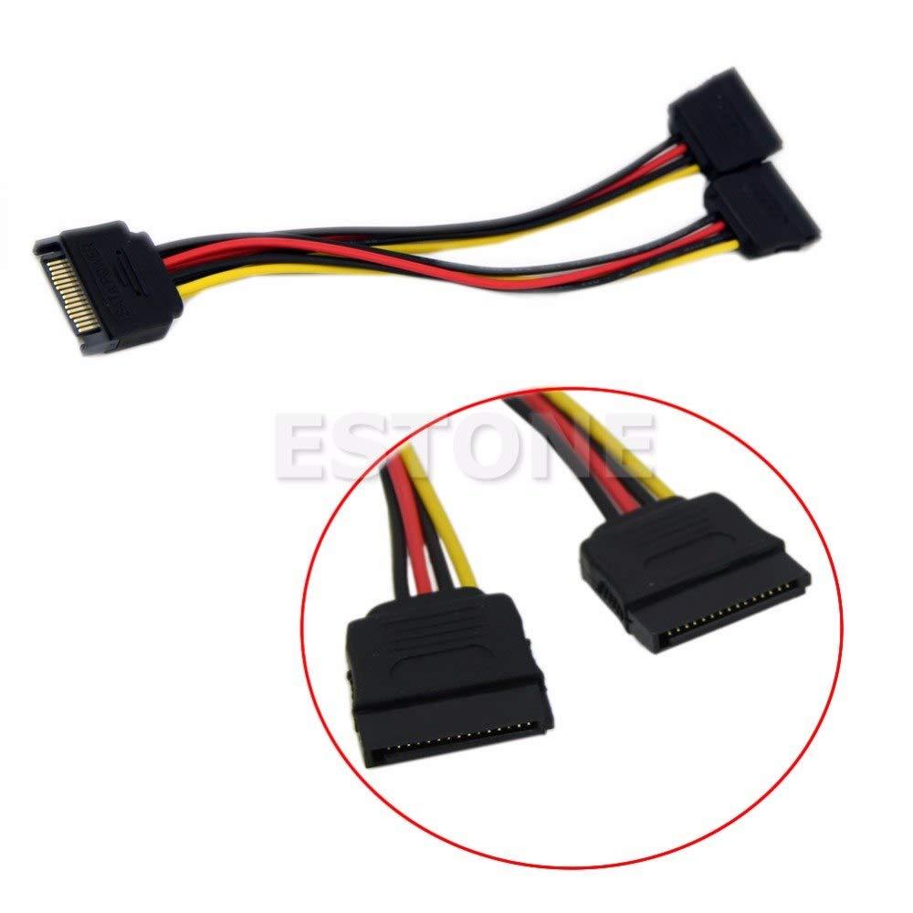 HEASEN 20CM SATA Power T//Y Splitter Extension Cable Adapter