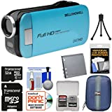 Bell & Howell Slice2 DV7HD 1080p HD Slim Video Camera Camcorder (Blue) with 32GB Card + Battery + Case + Tripod + Kit