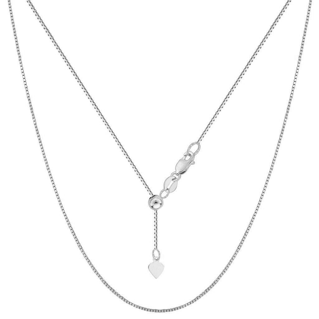 NYC Sterling, Sterling Silver Italian Adjustable Box Bolo Chain (up to 24'')