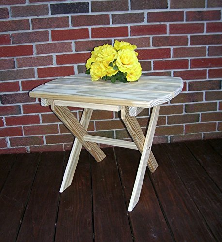A&L Furniture Amish-Made Pressure-Treated Pine Folding Oval End Table, Redwood Stain