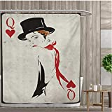 smallfly Queen Shower Curtains Fabric Retro Style Woman with Hat Playing Card Design Poker Casino Icon Gamble Bathroom Accessories 72''x72'' Vermilion Beige