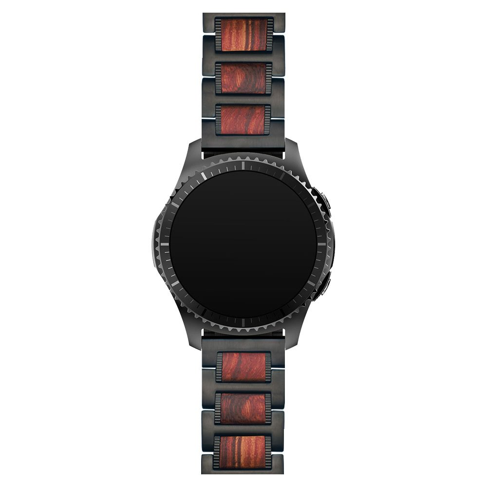 Ldfas Gear S3 Band 22mm Natural Wood Red Sandalwood Black Stainless Steel Metal Link Bracelet For Samsung Gear S3 Frontier/Classic Smart Watch by Ldfas