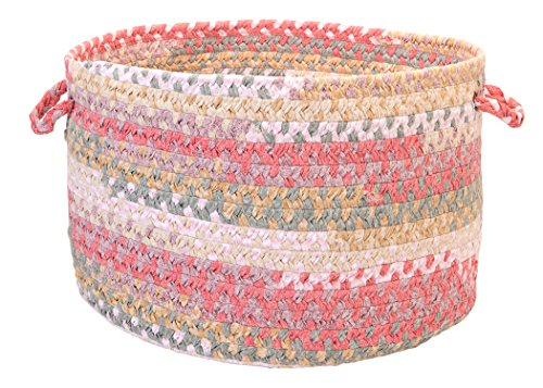(Colonial Mills Rag-Time Cotton Blend Utility Basket, 18 by 12-Inch, Pink/Multicolor)