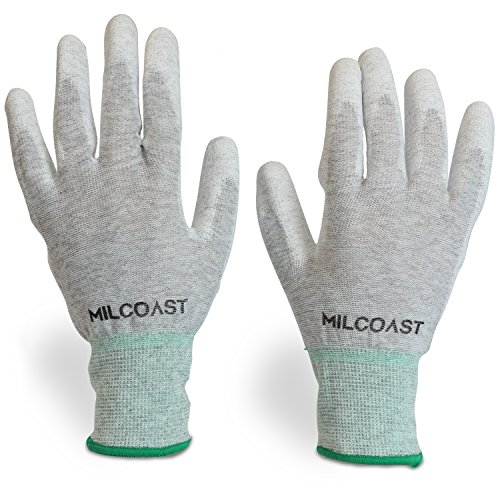 Milcoast Carbon Fiber Electrostatic Discharge Anti-Static ESD Gloves - Polyurethane Palm Coated for Work and Handling - Pack of 10 Pairs (Medium) ()