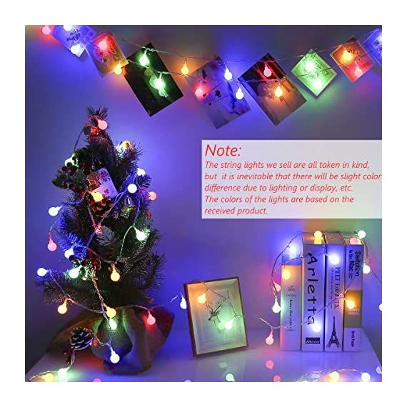 """Ollny Globe String Lights 100 LED 33ft for Indoor Bedroom Wedding Party Outdoor Christmas Garden Decorations Bulb Fairy String Lights with Remote Plug in Multi Color - 💡 8 LIGHTING MODES: The multi-color globe string lights, string length is 33ft, have 100 LEDs and 8 working modes - Combination, In Waves, Sequential, Slo-Glo, Chasing/Flash, Slow Fade, Twinkle/Flash, Steady on. You can use the remote to choose your favorite mode. Softer lights creating warm romantic atmosphere for your family at every moment. 💡 TIMER FUNCTION: TIMER FUNCTION: The fairy string lights come with a remote. Remote control has memory function, no need to repeat settings. If you want to reset you can pull out adapter/plug directly. When the adapter/plug has been pulled out and turned on again, the default light mode is automatically turned on. And you can set the """"Timer"""" by remote, the string lights will be automatically on for 6 hours and off for 18 hours per day. 💡 SAFE FOR USE: UL certificated plug, advanced LED bulbs and really safe DC 29V low voltage plug for use in your home. The high-quality keeps the lights at a low temperature so they are safe to touch after many hours of use. - patio, outdoor-lights, outdoor-decor - 51CuqydmoIL. SS570  -"""