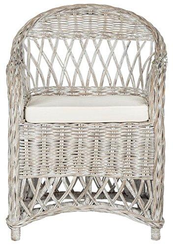 Safavieh Home Collection Inez White Wash Wicker Club Chair (Chairs Wicker Club White)