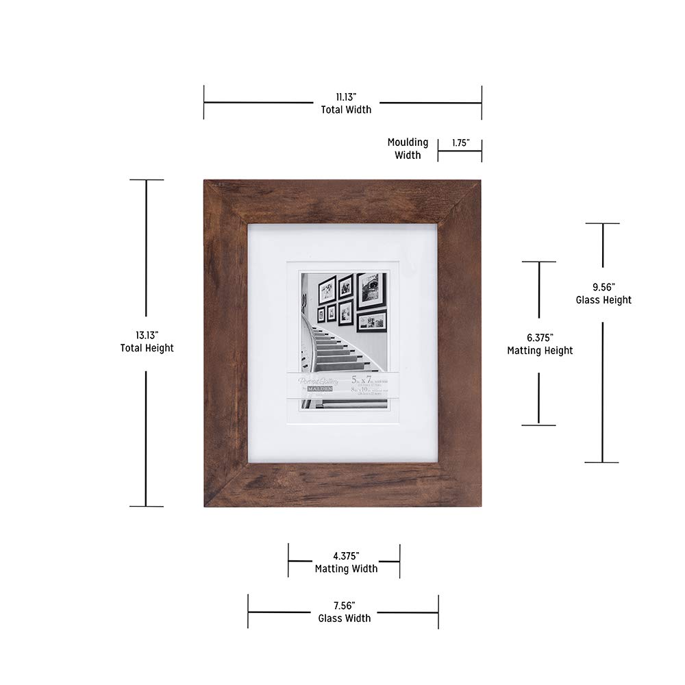Malden 8x10 Matted Picture Frame Made to Display 5x7 with Mat Walnut wihtout Mat