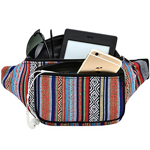 24f2e65ba Kayhoma Boho Fanny Pack Stripe Festival Rave Retro Vintage Bum Bags Travel  Hiking Waist Belt Purse