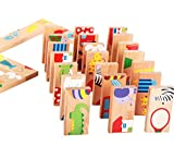 SSORA Wooden Dominoes Children's Early Educational Cognitive Domino Game Intelligence Jigsaw Puzzle Creative Toys 28 Pcs