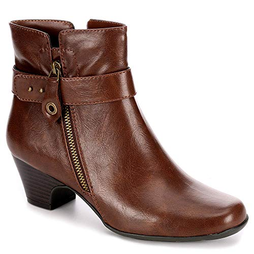 Michael Shannon Womens Sonsa Heeled Ankle Boot Shoes, Rust, US 5 ()