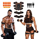 ABS Stimulator Ab Stimulator Muscle Toner Abdominal Toning Belt Workouts Portable EMS Training Home Office Fitness Equipment for Abdomen/Arm/Leg Training Workout Equipment Portable(USB Charging)
