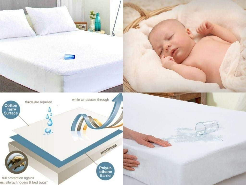 Terry Toweling Waterproof Mattress Protector Extra Deep Fitted Sheets Bedding Cover Mattress Protector King Size Bed
