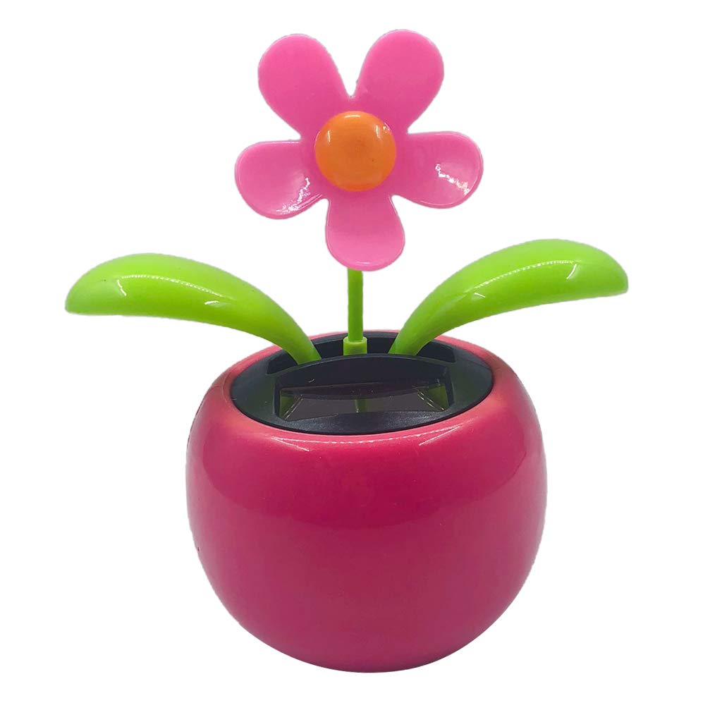 Homyl Hawaii Blumen Tä nzerin Solarbetrieben Tanzende Wackelfigur Solarfigur Solar Dekofigur Geschenk - Rose