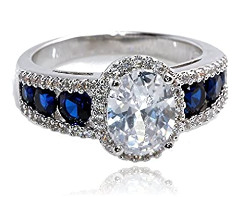 18K White Gold Plated Created Blue Sapphire and Cubic Zirconia Oval Halo Bridal Wedding Engagement - Oval Created Sapphire Solitaire Ring