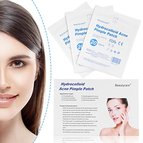 Acne Pimple Patch, Beauty Care Hydrocolloid Acne Spots Stickers Dot Absorbing Cover (3 Sheet 60 Patches) by Beauty Care