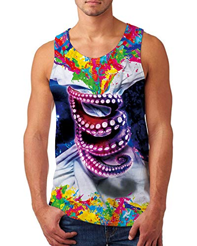 uideazone Men's Muscle Sleeveless Tank Top 3D Painted Purple Octopus Mesh Breathable Bodybuilding Sport Fitness - Mesh Painted