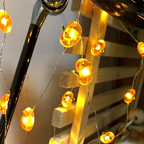 Jack-O-Lantern Orange Pumpkin String Lights - 10ft 40LEDs Long Battery Operated Copper Wire With the Remote & Timer for Indoor/Covered Outdoor/Autumn Parties & Home/Dorm Room Decorations by MIYA LIFE (Image #6)