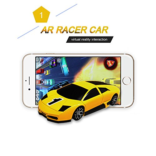 KaiTai Yellow AR Racer A Real fly Car On Mobile With Lights,Vibration,Jumping Real Feel Virtual Reality Car Racing Gaming System and free Gaming App Mini Pocket Game Toy speed Car for Android,IOS by KaiTai