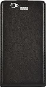 Ideus CABQAQ57LEABK - Funda de cuero con tapa Huawei Aquaris 5.7, negro