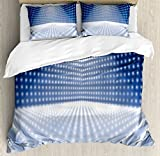 Ambesonne Light Blue Duvet Cover Set King Size, Vibrant Dotted Stage Image Movie Theater Performance Famous Reveal, Decorative 3 Piece Bedding Set with 2 Pillow Shams, Blue Light Blue White