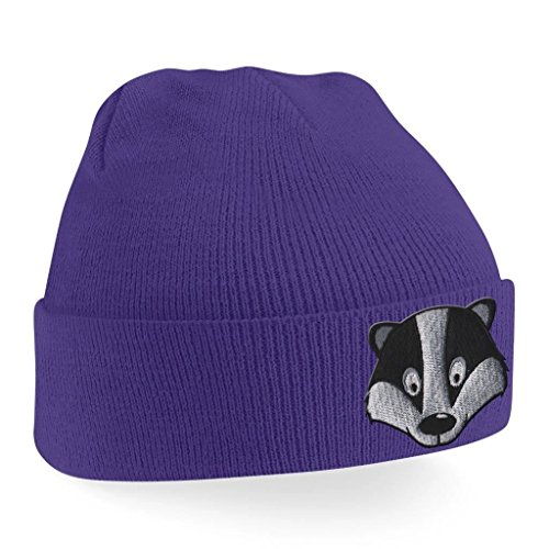 Badger Face Cute Animal Embroidered Beanie Hat Logo Men's - (Badger Embroidered Hat)