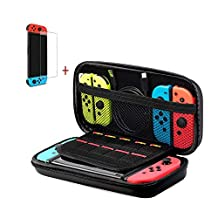 Nintendo Switch Case - Carrying Case and Tempered Glass Screen Protector for Nintendo Switch, Hard Shell Switch Travel Carrying Case for Nintendo Switch Console & Accessories (Black)
