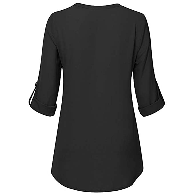 Trendinao Womens Chiffon V-Neck Long Sleeve Solid Color Top ...