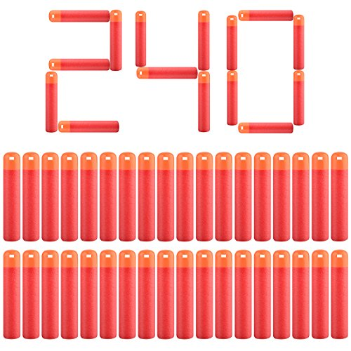 Mega Dart Refill, Peleustech 240PCS 3.74inch Red soft tip darts Hollow Soft Head Foam Bullets for Nerf Mega Series Blasters