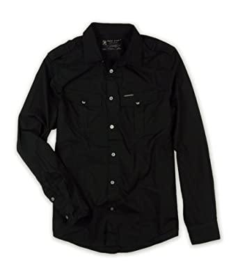 Marc Ecko Mens Deadly Thread Button Up Shirt black S at Amazon Men s ... 8501ea2027a7