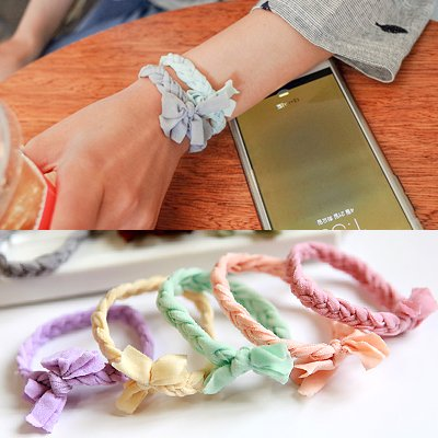 South Korean imports of hair ornaments Korean weave bracelet color tie rubber band hair ring hair rope rope for women girl lady