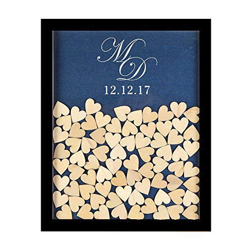 Tamengi Personalized Wedding Guest Book,Custom Name & Date Infinite Love Guestbook Alternative Wood Drop Top Frame Wedding Guest Book Box Rustic Unique 120Pcs Hearts Decor by Tamengi (Image #6)