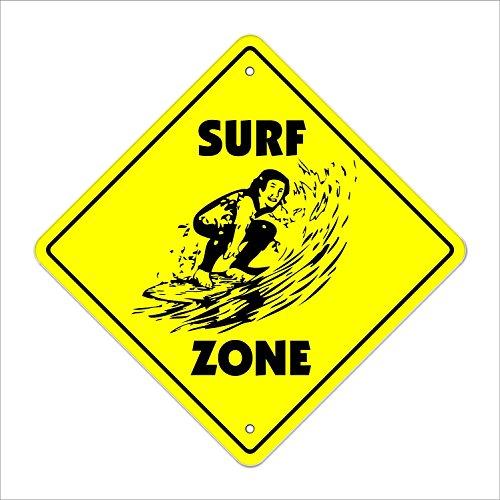 magraphael Surf Crossing Sign Zone Xing estacionar Metal Sign 12' x 18' Surf de aluminio Surfer cera playa Boogie Board...