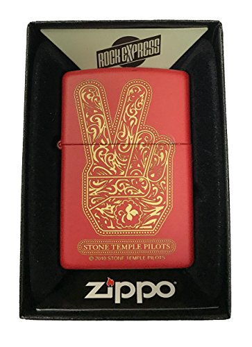 Zippo-Custom-Lighter-Stone-Temple-Pilots-Paisley-Peace-Hand-Red-Matte