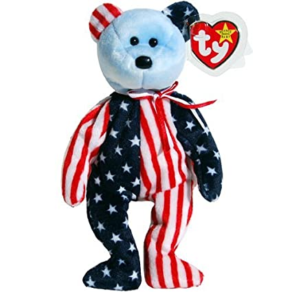 Amazon.com  Ty Beanie Baby Spangle Bear Stars   Stripes Patriotic Teddy  with Blue Face  Toys   Games 0b814c966f