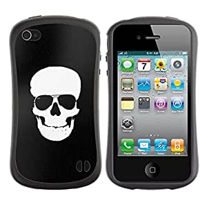 Suave TPU GEL Carcasa Funda Silicona Blando Estuche Caso de protección (para) Apple Iphone 4 / 4S / CECELL Phone case / / Black White Skull Minimalist Shades /