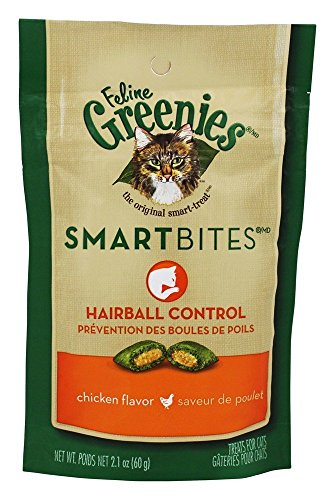 Kens Oral Care (Greenies FELINE SMARTBITES Hairball Control Cat Treats Chicken Flavor 2.1 oz. With Natural Ingredients Plus Vitamins, Minerals, And Other Nutrients)